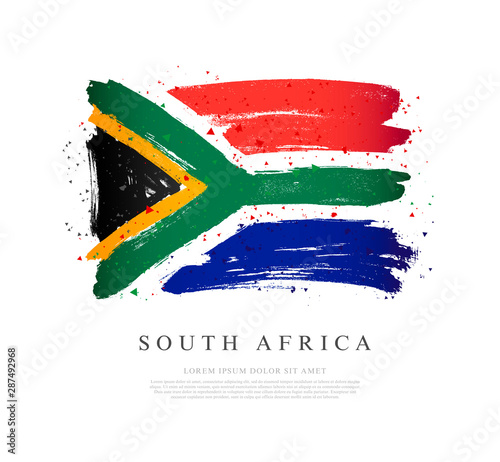 Flag of South Africa. Brush strokes are drawn by hand. Independence Day.