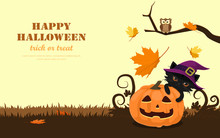 Smiley Face Halloween Pumpkin, Cute Black Cat And Little Owl With Falling Maple Leaves. Cartoon Character Flat Design Vector Illustration.
