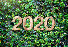 2020 Happy New Year Wood Textu...