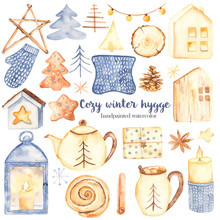 Watercolor Set Clipart Cozy Winter Hygge. Candle, Cone, Cookies, Garlands, Gifts, Wooden Houses, Lantern, Mittens, Teapot