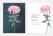 Minimalist Floral Wedding Invitation Card Template Design, Pink Chrysanthemum Morifolium Flower With Leaves, Vintage Theme