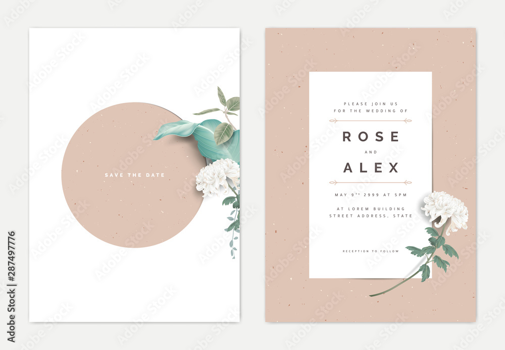 Minimalist Botanical Wedding Invitation Card Template Design