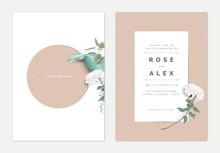 Minimalist Botanical Wedding Invitation Card Template Design, White Chrysanthemum Morifolium Flower With Leaves On White, Vintage Theme