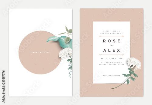 Fototapeta Minimalist botanical wedding invitation card template design, white Chrysanthemum morifolium flower with leaves on white, vintage theme obraz