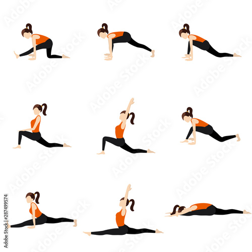 Photo Monkey pose sequence yoga asanas set/ Illustration stylized woman practicing han