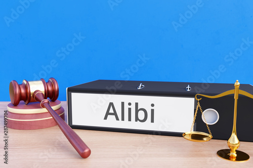 Photo Alibi – Folder with labeling, gavel and libra – law, judgement, lawyer