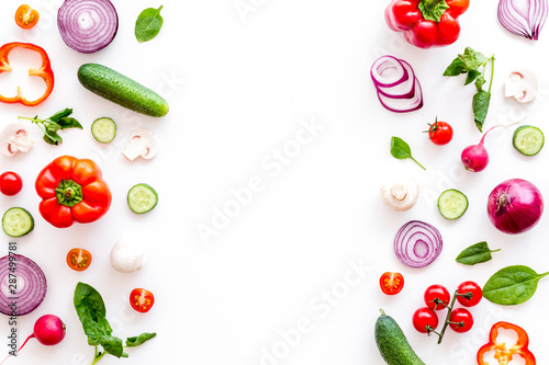 Fotomural  colorful vegetables frame for cooking design on white background top view mockup