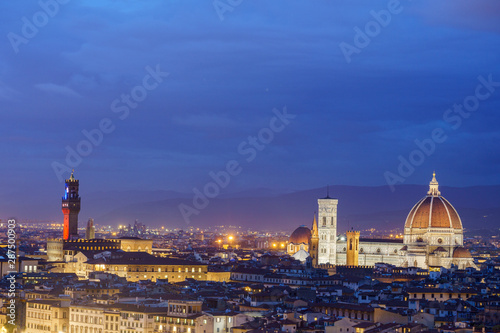 Aluminium Prints Florence Night view of Florence city skyline with Duomo in Tuscany Firenze Italy