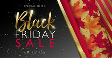 Red And Gold Black Friday Sale Banner With Frame, Gold Letters And Maple Leaves. Vector Illustration Template.