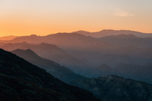 View Of The Santa Ynez Mountains At Sunset From Camino Cielo, In Los Padres National Forest, Near Santa Barbara, California