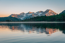 Mountains Reflecting In Silver Lake Flat Reservoir At Sunset, Near The Alpine Loop Scenic Byway In American Fork Canyon, Uinta-Wasatch-Cache National Forest, Utah
