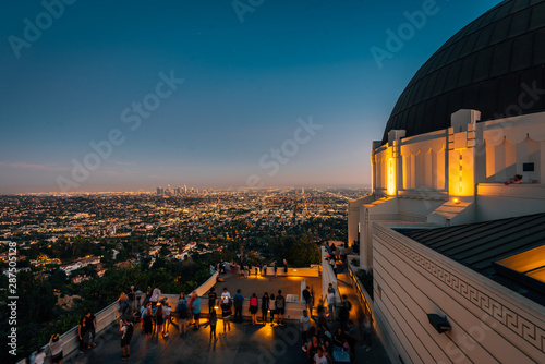 Griffith Observatory at night, in Griffith Park, Los Angeles, California Canvas Print