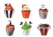 Set Of Halloween Cupcakes Isol...