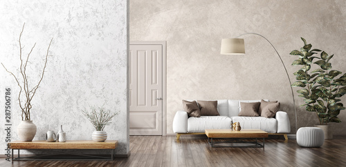 Fotomural Interior of living room with white sofa 3d rendering