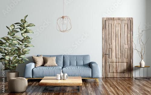 Interior of modern living room 3d rendering - 287508381