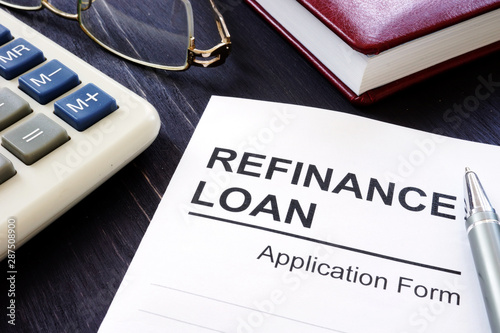 Fototapeta Refinance loan application form and pen. obraz