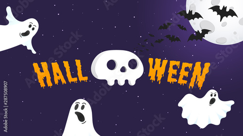 Deurstickers Halloween Happy Halloween text postcard banner with ghosts scary face, human scull, moon, bats and text happy halloween isolated on dark background flat style design.