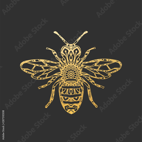 Golden Abstract Ornamental Bee Shape Fototapet
