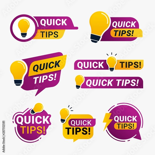 Quick tips set logo badge with yellow lightbulb icon vector illustration