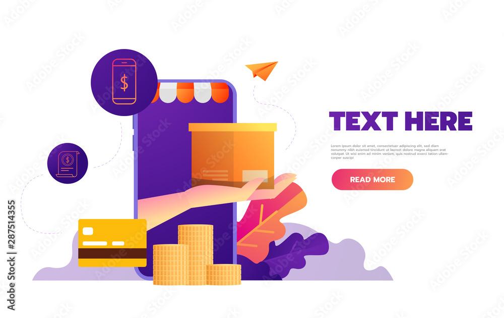 Fototapeta Shopping online on mobile app. Vector illustration.