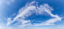 Panorama Of The Sky With Cirrus Clouds In Summer Day