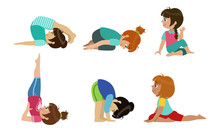 Cute Kids Performing Yoga Exercises Set, Physical Activity And Healthy Lifestyle Vector Illustration