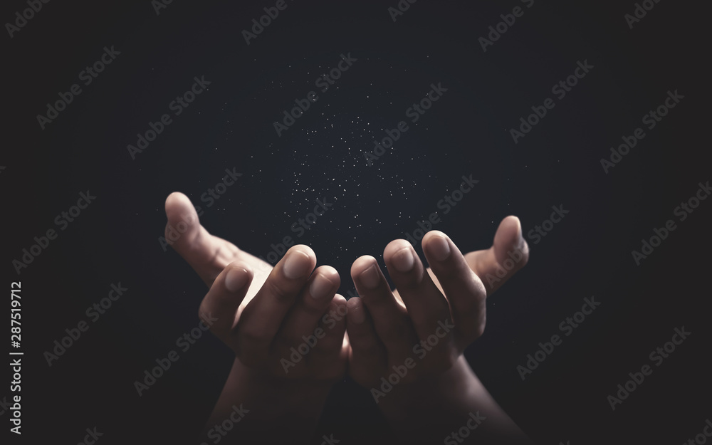 Fototapeta Praying hands with faith in religion and belief in God on blessing background. Power of hope or love and devotion.