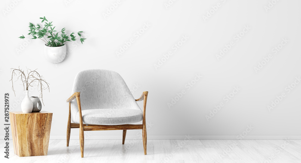 Fototapety, obrazy: Interior background of living room with gray armchair and wooden coffee table 3d rendering