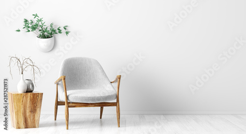 Photo sur Toile Pain Interior background of living room with gray armchair and wooden coffee table 3d rendering