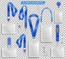 Set Of Realistic Badges Id Cards Holders On Blue Lanyards With Strap Clips, Cord And Clasps Vector Illustration