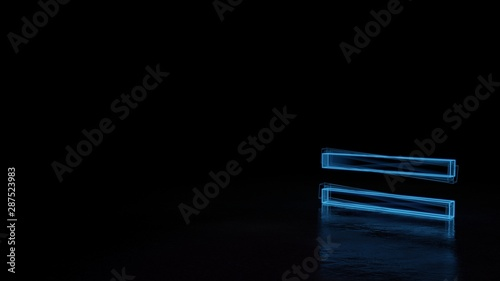 3d glowing wireframe symbol of symbol of equal isolated on black background Fototapet