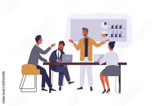 Fotomural Business conference flat vector illustration