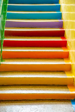 School Stairs Colored In Rainb...