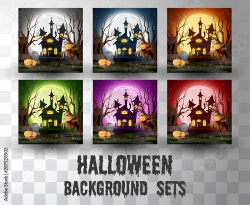 Fényképezés  Halloween cartoon silhouette background sets with different colour scene