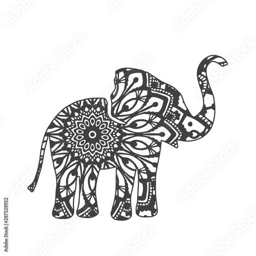 Cuadros en Lienzo  Abstract Ornamental Elephant Shape