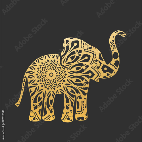 Fotomural Golden Abstract Ornamental Elephant Shape