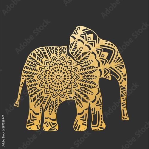 Cuadros en Lienzo  Golden Abstract Ornamental Elephant Shape
