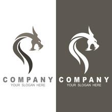 Dragon Mascot Vector Logo Design With Modern Illustration Concept Style For Badge, Head Dragon Illustration, Flat Logo