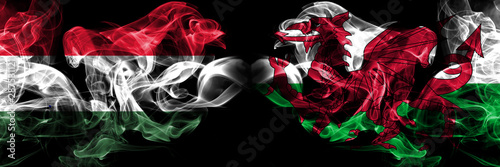 Fotografía Hungary, Hungarian, Wales, Welsh competition thick colorful smoky flags