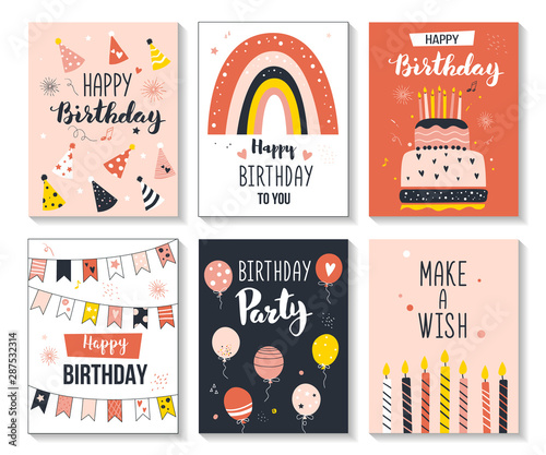 Obraz na plátně  Happy birthday greeting card and party invitation set, vector illustration, hand drawn style