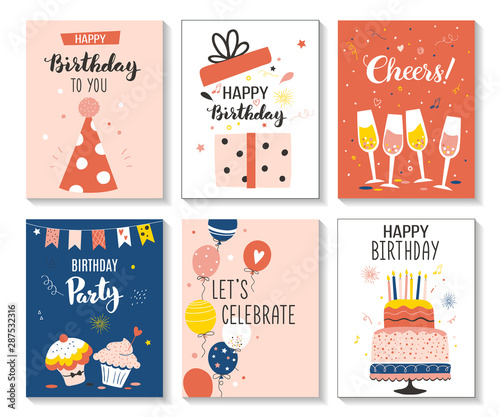 Happy birthday greeting card and party invitation set, vector illustration, hand drawn style Canvas Print