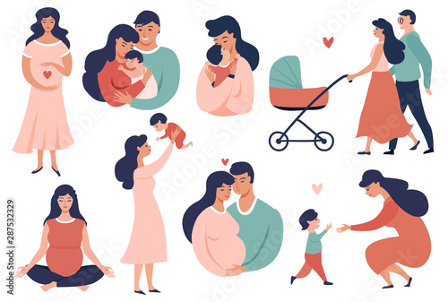 Obraz Happy Young Family set. Pregnancy and maternity  concept illustration. Smiling Parent, Mother hold little baby. Flat Cartoon Vector Illustration - fototapety do salonu