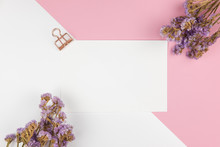 Top View Of Paper Note And Purple Statice Flower