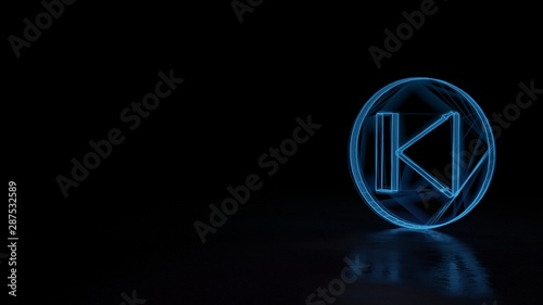 Photo 3d glowing wireframe symbol of symbol of previous isolated on black background