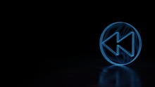 3d Glowing Wireframe Symbol Of Symbol Of Rewind  Isolated On Black Background
