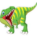 Fototapeta Dinusie - Cartoon Tyrannosaurus Rex roaring on white background
