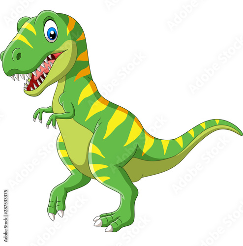 Photo  Cartoon green dinosaur on white background