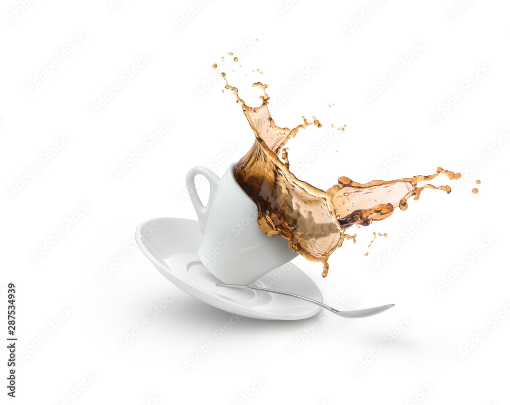 Fototapeta  coffee splash in white cup isolated