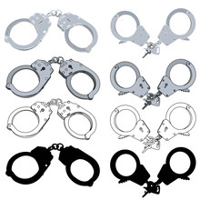Vector, On A White Background, Gray Handcuffs, Set
