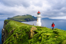 Lighthouse On Mykinesholm, Mykines Island, Denmark Faroe Islands